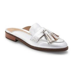 Vionic Silver Women's Wise Reagan Mule with Tassels and Backless Slide with Concealed Orthotic Support REAGAN