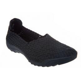 Bernie Mev Black Basket Weave Womens Slip On Comfort Shoes RIGGEDFLY