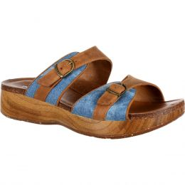 RockyBrands 4EurSole Tan Blue Denim Golden Day Womens Slide Sandals RKH062