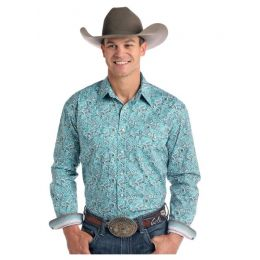 Panhandle Slim Verano Antique Print Long Sleeve Mens Snap Shirt R0S2133