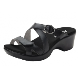 Alegria Black Roux Womens Adjustable Strap Womens Wedge Sandals ROU-601