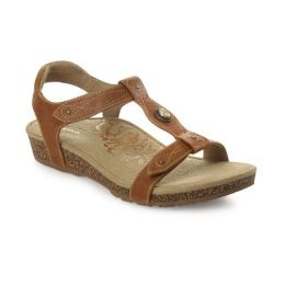 Aetrex Cognac Lori Adjustable Quarter Strap Womens Comfort Sandals SC112