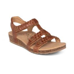 Aetrex Cognac Reese Adjustable Gladiator Womens Sandals SC124