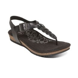 Aetrex Black Harper Adjustable Slingback Womens Comfort Thong Sandals SC310