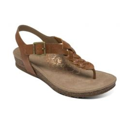 Aetrex Cognac Harper Adjustable Slingback Womens Comfort Thong Sandals SC312