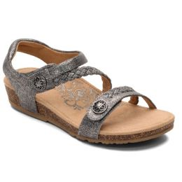 Aetrex Pewter Jillian Adjustable Strap Womens Comfort Shoes SC365