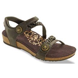 Aetrex Black Jillian Adjustable Strap Womens Comfort Shoes SC450