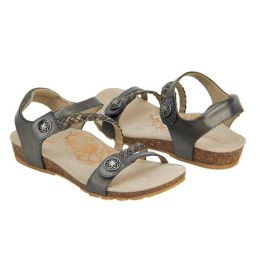 Aetrex Gunmetal Jillian Braided Quarter Strap Womens Sandals SC465