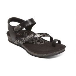 Aetrex Black Georgia Toe Loop Womens Comfort Sandals SC710