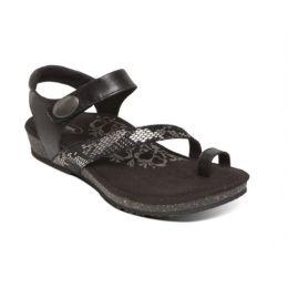Aetrex Black Georgia Toe Loop Womens Comfort Sandals SC710