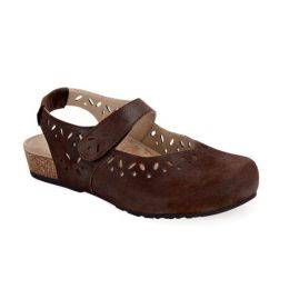 Aetrex Chocolate Suede Cheryl Sling Back Mary Jane Womens Shoes SC914