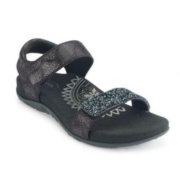 Aetrex Maria Jeweled Black Adjustable Straps Comfort Womens Sandals SE280