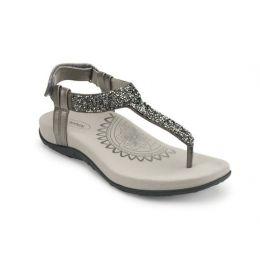 Aetrex Gunmetal Jade Sparkle Womens Comfort Thong Sandals SE383
