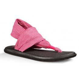 Sanuk Yoga Sling Fuchsia/White Canvas Kids Sandals SGS10479-FRST
