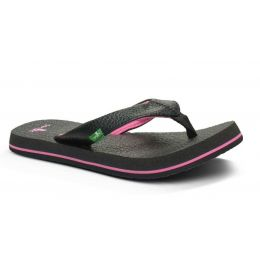 Sanuk Yoga Matt Black/Pink Canvas Kids Sandals SGS2914T-BKPK