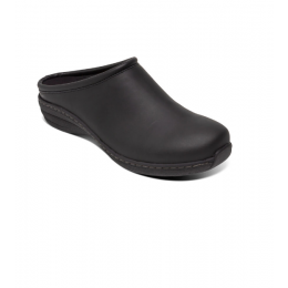 Aetrex Black Oiled Leather Robin Womens Comfort Casual Clogs SR101