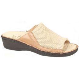 Stretch Beige Removable Footbed Comfort Slide Womens Sandals