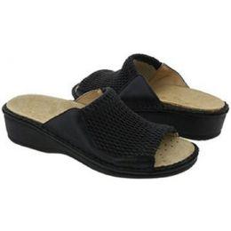 Stretch Black Removable Footbed Comfort Slide La Plume Womens Sandals