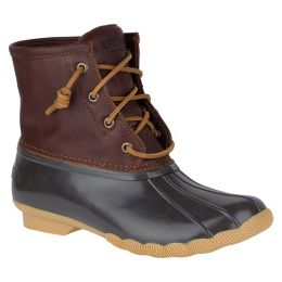 Sperry Tan/Dark Brown Womens Duck Boots Saltwater STS91176