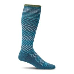 SockWell Teal Womens Chevron Graduated Compression Socks SW7W-480