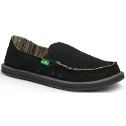 SWF1160 Black Donna Hemp Slip-On Comfort Casual Sanuk Womens Shoes