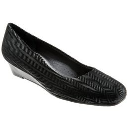 T1110-001 LAUREN Black Suede Patent Slip-On Trotters Womens Shoes