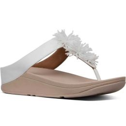 FitFlop Urban White Polyurethane Fino Bead Pompom Womens Sandals T19-194