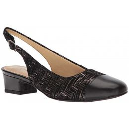 Trotters Black Metallic Woven Sling Back Womens Dress Shoe T7001-013