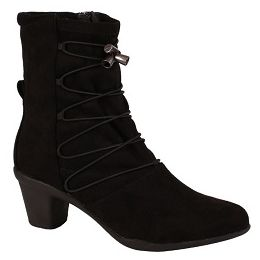 Bussola Tamra Black Stretch Suede Womens Comfort Boots Tamra