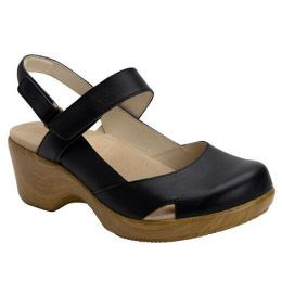 Alegria Tarah Women's Black Closed Toed Open Back Comfort Sandal TAR-601