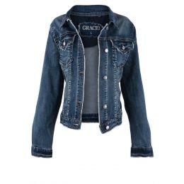 Grace In LA Denim Jacket TE61252-A