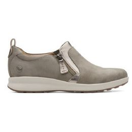 Clarks Taupe Combi Womens Un Adorn Zip Comfort Shoe UN-ADORN