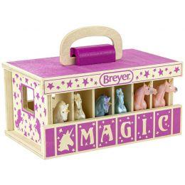 Breyer Unicorn Magic Wood Carry Stable with 6 Unicorns 59218