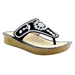 Alegria Vanessa Mandala Black Womens Thong Sandals VAN-177
