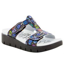 Alegria Vita Sugar Skulls Black Multicolor Lightweight Platform Comfort Womens Sandals VIT-484