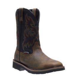 Wolverine Black/Brown Men's Rancher Waterproof Steel-Toe Wellington Work Boot W10765