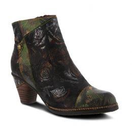 La'Artiste Waterlily Black Multi Womens Leather Booties