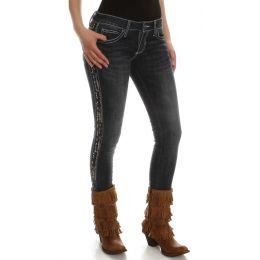 WHS89CL Dark Denim Embroidered Rock 47 Wrangler Womens Skinny Jeans