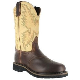 WK4660 Waxy Brown Saddle Vamp Western Justin Mens Work Boots