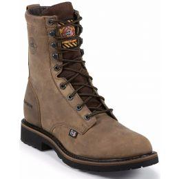 WK961 Distressed Brown 8inch Wyoming Waterproof Steel Toe Justin Mens Work Boots