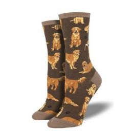 SockSmith Women's Brown Golden Retrievers Socks WNC1878