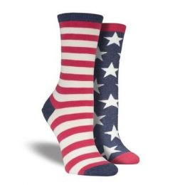 SockSmith Red White and Blue Womens Flag Socks WNC337