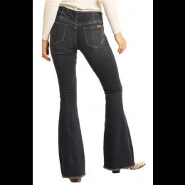 Rock and Roll Denim Dark Wash Pull On Flare Leg Ladies Jeans WPH7549