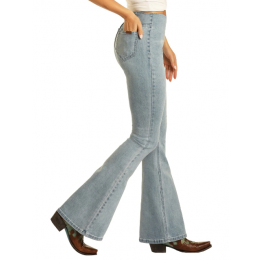 Rock and Roll Denim Light Wash High Rise Pull on Flare Ladies Jeans WPH8171