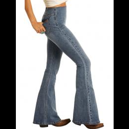 Rock and Roll Denim Medium Wash Pull On Flare Leg Ladies Jeans WPH8172