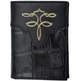 Tony Lama Black Western Trifold Wallet WTL253
