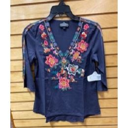Angie Ladies Charcoal V Neck Floral Embroidered Tunic Top X2Z16-EMB