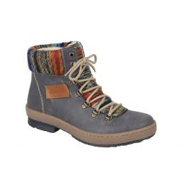 Rieker Grey Combination Womens Casual Ankle Boots Z6743-45
