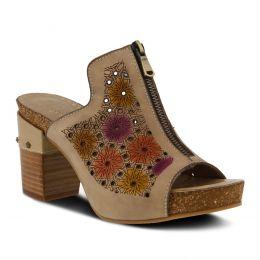 L'Artiste Light Beige Zippia Womens Slide High Heel Sandals ZIPPIA