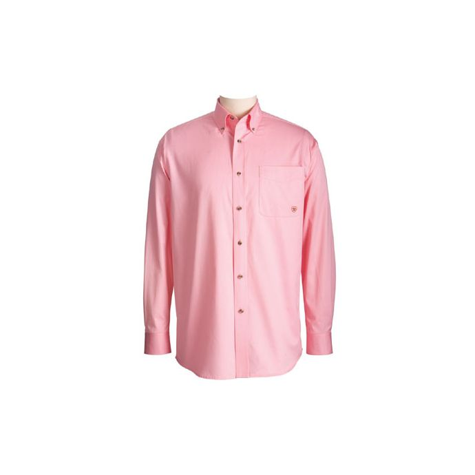 59948c3037c 10000527 Solid Pink Twill Button Down Western Long Sleeve Ariat Mens Shirts